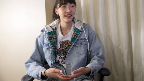 <p>               In this Monday, April 8, 2019, photo Chinese basketball player Han Xu smiles during an interview with The Associated Press in New York. Xu impressed WNBA coaches and general managers with her play at the FIBA World Championship last fall. Now the young 6-foot-9 star is looking to be the first Chinese player drafted in the WNBA since 1997. (AP Photo/Mary Altaffer)             </p>