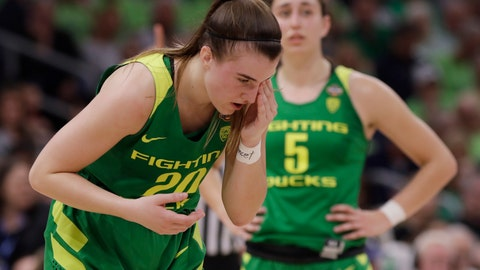 <p>               Oregon guard Sabrina Ionescu (20) wipes her eye during the second half of a women's Final Four NCAA college basketball semifinal tournament game against the Baylor, Friday, April 5, 2019, in Tampa, Fla. (AP Photo/Chris O'Meara)             </p>