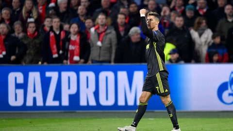 <p>               Juventus' Cristiano Ronaldo celebrates after scoring his side's opening goal during the Champions League quarterfinal, first leg, soccer match between Ajax and Juventus at the Johan Cruyff ArenA in Amsterdam, Netherlands, Wednesday, April 10, 2019. (AP Photo/Martin Meissner)             </p>