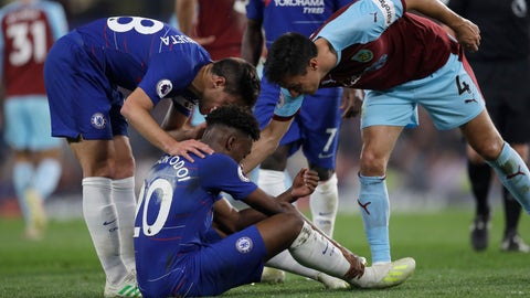 <p>               Chelsea's Callum Hudson-Odoi gets injured during the English Premier League soccer match between Chelsea and Burnley at Stamford Bridge stadium in London, Monday, April 22, 2019. (AP Photo/Kirsty Wigglesworth)             </p>