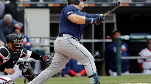 <p>               Seattle Mariners' Daniel Vogelbach hits a three-run double against the Chicago White Sox during the third inning of a baseball game in Chicago, Sunday, April 7, 2019. (AP Photo/Nam Y. Huh)             </p>