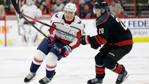 <p>               Carolina Hurricanes' Sebastian Aho (20), of Finland, and Washington Capitals' T.J. Oshie (77) chase the puck during the first period of Game 3 of an NHL hockey first-round playoff series in Raleigh, N.C., Monday, April 15, 2019. (AP Photo/Gerry Broome)             </p>
