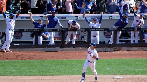 <p>               New York Mets players react as Michael Conforto, bottom, runs the bases after hitting a solo home run off Washington Nationals starting pitcher Patrick Corbin during the sixth inning of a baseball game, Saturday, April 6, 2019, in New York. (AP Photo/Julio Cortez)             </p>