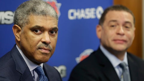 """<p>               FILE - In this Thursday, April 12, 2018 file photo, New York Knicks' general manager Scott Perry, right, and president Steve Mills speak to reporters at a news conference in Tarrytown, N.Y. With the right mix of lottery luck and summer shopping, the Knicks know the chance is there to quickly improve what was the NBA's worst record this season. """"We're excited,"""" Knicks President Steve Mills said Wednesday, April 17, 2019 """"and we're not going to hide that we're excited and we're optimistic about what we hope the summer leads to."""" (AP Photo/Seth Wenig, File)             </p>"""