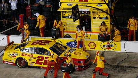 <p>               Joey Logano makes a pit stop during the NASCAR Cup Series auto race at Richmond Raceway in Richmond, Va., Saturday, April 13, 2019. (AP Photo/Steve Helber)             </p>