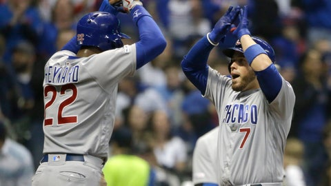 <p>               Chicago Cubs' Victor Caratini (7) celebrates with Jason Heyward (22) after hitting a two-run home run during the fifth inning of a baseball game against the Milwaukee Brewers Saturday, April 6, 2019, in Milwaukee. (AP Photo/Aaron Gash)             </p>