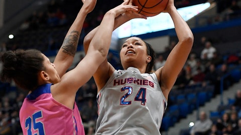<p>               FILE - In this Feb. 20, 2019, file photo, Connecticut's Napheesa Collier, right, shoots as Memphis' Jasmine James defends during the first half of an NCAA college basketball game, in Hartford, Conn. Collier has had an incredible senior year so far, leading UConn back to the Final Four for a 12th consecutive year. The senior forward averaged 20.9 points, 10.5 rebounds and shot 61.4% from the field during the regular season for the Huskies to earn a spot on The Associated Press women's basketball All-America team, Monday, April 1, 2019. (AP Photo/Jessica Hill, File)             </p>