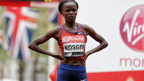 <p>               Kenya's Brigid Kosgei wins the women's race at the 39th London Marathon in London, Sunday, April 28, 2019. (AP Photo/Alastair Grant)             </p>