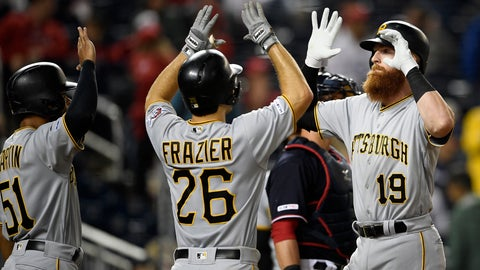 <p>               Pittsburgh Pirates' Colin Moran (19) celebrates his three-run home run with Adam Frazier (26) and Jason Martin (51) during the 10th inning of a baseball game against the Washington Nationals, Friday, April 12, 2019, in Washington. (AP Photo/Nick Wass)             </p>