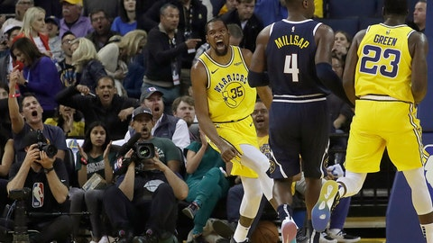 <p>               Golden State Warriors forward Kevin Durant (35) reacts after dunking against the Denver Nuggets during the first half of an NBA basketball game in Oakland, Calif., Tuesday, April 2, 2019. (AP Photo/Jeff Chiu)             </p>