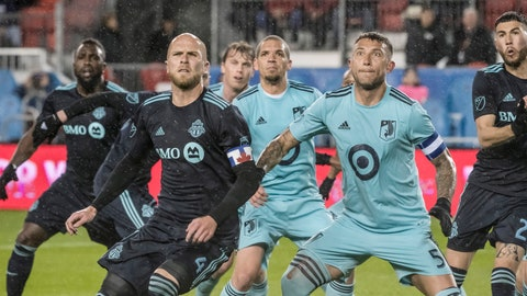 <p>               Toronto FC midfielder Michael Bradley (4) and Minnesota United defender Francisco Calvo (5) look for a header in front of Minnesota United's net during first-half MLS soccer match action in Toronto, Friday, April 19, 2019. (Christopher Katsarov/The Canadian Press via AP)             </p>