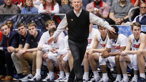 <p>               Belmont head coach Rick Byrd works the bench during the first half of a First Four game of the NCAA college basketball tournament against Temple, Tuesday, March 19, 2019, in Dayton, Ohio. (AP Photo/John Minchillo)             </p>