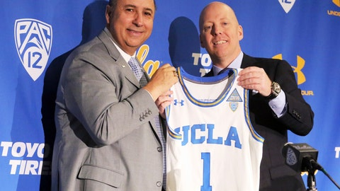<p>               Mick Cronin, right, and athletic director Dan Guerrero pose as Cronin is introduced as UCLA's new head basketball coach at a news conference on the campus in Los Angeles Wednesday, April 10, 2019. Cronin was hired as UCLA's basketball coach Tuesday, ending a bumpy, months-long search to find a replacement for the fired Steve Alford. The university said Cronin agreed to a $24 million, six-year deal. (AP Photo/Reed Saxon)             </p>