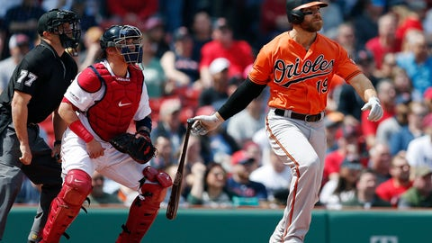 <p>               Baltimore Orioles' Chris Davis watches his two-run single in front of Boston Red Sox's Christian Vazquez during the first inning of a baseball game in Boston, Saturday, April 13, 2019. (AP Photo/Michael Dwyer)             </p>