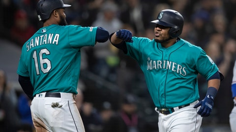 <p>               Seattle Mariners' Edwin Encarnacion, right, is congratulated by Domingo Santana after hitting a three-run home run off of Texas Rangers starting pitcher Shelby Miller that also scored Santana and Daniel Vogelbach during the third inning of a baseball game, Friday, April 26, 2019, in Seattle. (AP Photo/Stephen Brashear)             </p>
