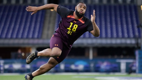 <p>               FILE - In this March 3, 2019, file photo, Clemson defensive lineman Christian Wilkins runs a drill at the NFL football scouting combine in Indianapolis. Wilkins is a possible pick in the 2019 NFL Draft. (AP Photo/Michael Conroy, File)             </p>
