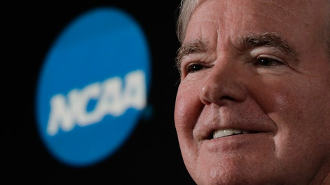 <p>               FILE - In this March 29, 2018, file photo, NCAA President Mark Emmert speaks during a news conference in San Antonio. Emmert says a judge's recent ruling in a federal antitrust lawsuit again reinforced that college athletes should be treated as students not employees. Emmert spoke to The Associated Press on Wednesday, April 3, at U.S. Bank Stadium, the site of the men's basketball Final Four, making his first public comments since last month's decision. Judge Claudia Wilken ruled the NCAA did violate antitrust laws and cannot prohibit schools from providing more benefits to athletes as long as they are tethered to education. (AP Photo/David J. Phillip, File)             </p>