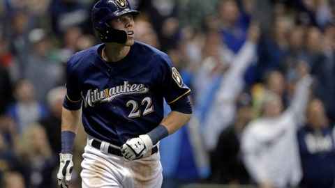 <p>               Milwaukee Brewers' Christian Yelich watches his three-run home run during the fifth inning of the team's baseball game against the St. Louis Cardinals on Tuesday, April 16, 2019, in Milwaukee. (AP Photo/Aaron Gash)             </p>