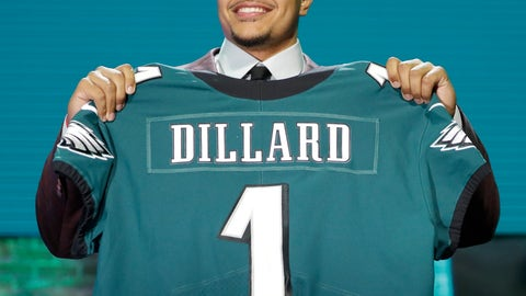 <p>               Washington State tackle Andre Dillard shows off his new jersey after the Philadelphia Eagles selected him in the first round at the NFL football draft, Thursday, April 25, 2019, in Nashville, Tenn. (AP Photo/Mark Humphrey)             </p>