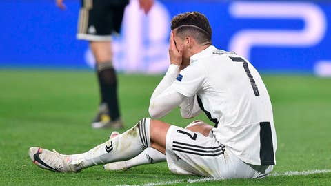 <p>               Juventus' Cristiano Ronaldo reacts during the Champions League, quarterfinal, second leg soccer match between Juventus and Ajax, at the Allianz stadium in Turin, Italy, Tuesday, April 16, 2019.  (Alessandro Di Marco/ANSA via AP)             </p>