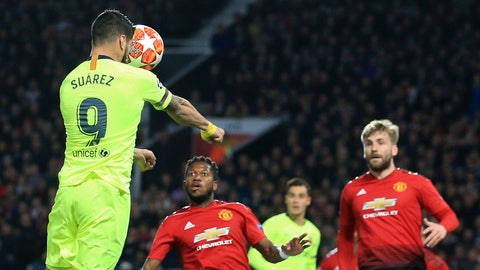 <p>               Barcelona's Luis Suarez scores the opening goal of his team during the Champions League quarterfinal, first leg, soccer match between Manchester United and FC Barcelona at Old Trafford stadium in Manchester, England, Wednesday, April 10, 2019. (AP Photo/Jon Super)             </p>