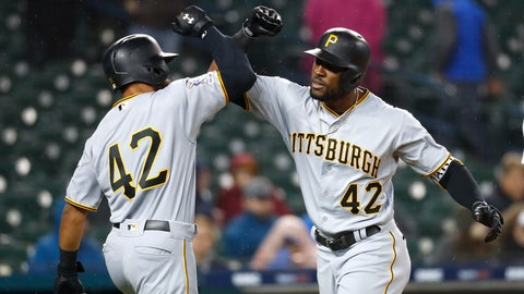 <p>               Pittsburgh Pirates' Starling Marte, right, celebrates his two-run home run with Jason Martin in the 10th inning of a baseball game against the Detroit Tigers in Detroit, Tuesday, April 16, 2019. (AP Photo/Paul Sancya)             </p>