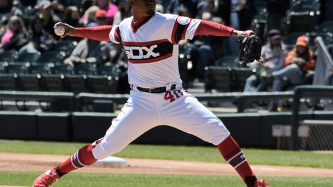 <p>               Chicago White Sox starting pitcher Reynaldo Lopez (40) throws against the Detroit Tigers during the first inning of a baseball game, Sunday, April 28, 2019, in Chicago. (AP Photo/David Banks)             </p>