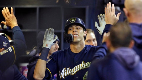 <p>               Milwaukee Brewers' Christian Yelich reacts after his home run against the St. Louis Cardinals during the eighth inning of a baseball game Monday, April 15, 2019 in Milwaukee. It was Yelich's third home run of the game. (AP Photo/Jeffrey Phelps)             </p>