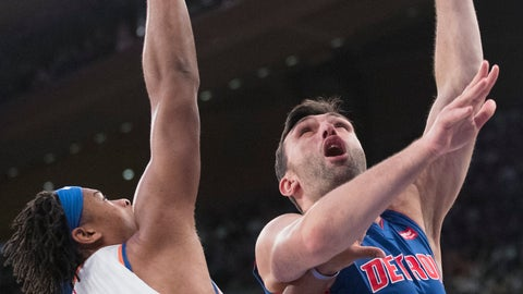 <p>               Detroit Pistons center Zaza Pachulia (27) goes to the basket against New York Knicks forward Isaiah Hicks (4) during the first half of an NBA basketball game Wednesday, April 10, 2019, at Madison Square Garden in New York. (AP Photo/Mary Altaffer)             </p>