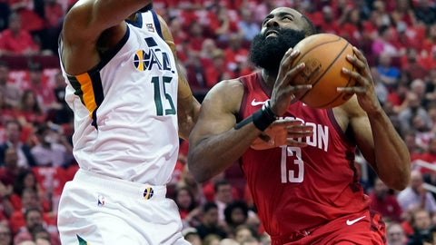 <p>               Houston Rockets guard James Harden (13) drives to the basket against Utah Jazz forward Derrick Favors (15) during the first half in Game 5 of an NBA basketball playoff series, in Houston, Wednesday, April 24, 2019. (AP Photo/David J. Phillip)             </p>