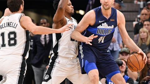 <p>               Dallas Mavericks' Dirk Nowitzki (41) drives against San Antonio Spurs' Rudy Gay, center, and Marco Belinelli during the second half of an NBA basketball game Wednesday, April 10, 2019, in San Antonio. San Antonio won 105-94. (AP Photo/Darren Abate)             </p>