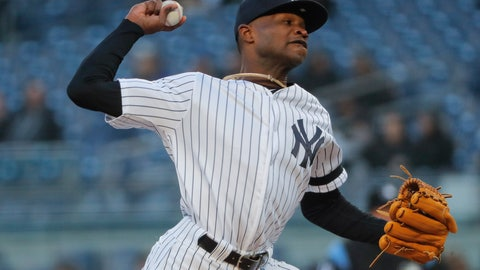 <p>               New York Yankees pitcher Domingo German delivers against the Detroit Tigers during the first inning of a baseball game, Monday, April 1, 2019, in New York. (AP Photo/Julie Jacobson)             </p>