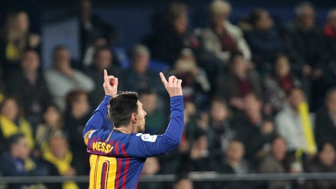 <p>               Barcelona forward Lionel Messi celebrates after scoring his side's third goal during the Spanish La Liga soccer match between Villarreal and FC Barcelona at the Ceramica stadium in Villarreal, Spain, Tuesday, April 2, 2019.(AP Photo/Alberto Saiz)             </p>