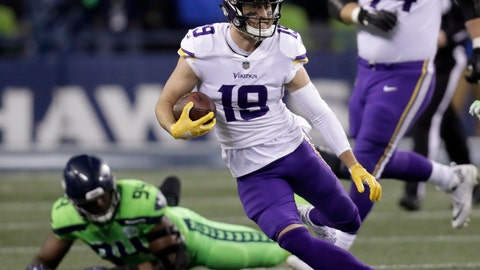 <p>               FILE - In this Dec. 10, 2018, file photo, Minnesota Vikings' Adam Thielen runs with the ball after a reception against the Seattle Seahawks in the second half of an NFL football game in Seattle. The Vikings and wide receiver Thielen have agreed in principle to a four-year contract extension valued at $64 million. The Vikings announced the deal Friday, April 12, 2019. (AP Photo/Stephen Brashear, File)             </p>
