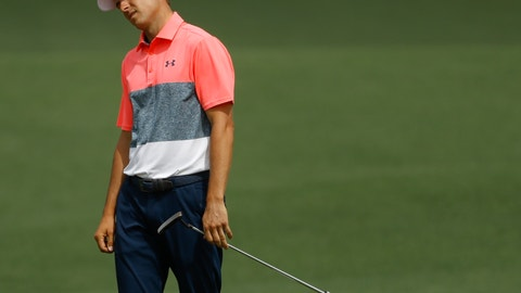 <p>               Jordan Spieth reacts after a missed putt on the second hole during the second round for the Masters golf tournament Friday, April 12, 2019, in Augusta, Ga. (AP Photo/Matt Slocum)             </p>