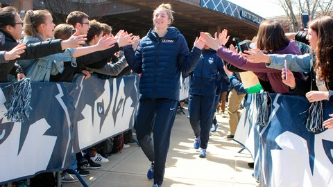 <p>               UConn forward Katie Lou Samuelson greets fans outside Gampel Pavilion in Storrs, Conn., Tuesday, April 2, 2019, as the team leaves campus for a record 12th straight trip to the women's NCAA college basketball Final Four. UConn will be seeking its 12th national title. (AP Photo/Pat Eaton-Robb)             </p>