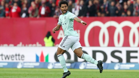 <p>               Bayern's Serge Gnabry celebrates after scoring his side's opening goal during the German Bundesliga soccer match between 1. FC Nuremberg and FC Bayern Munich in Nuremberg, Germany, Sunday, April 28, 2019. (AP Photo/Matthias Schrader)             </p>