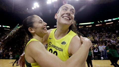 <p>               FILE - In this Sept. 4, 2018, file photo, Seattle Storm's Breanna Stewart, right, is embraced by Sue Bird after the Storm defeated the Phoenix Mercury 94-84 during Game 5 of a WNBA basketball playoff semifinal, in Seattle. The WNBA's 23rd season begins May 24, with the Seattle Storm the defending champion. (AP Photo/Elaine Thompson, File)             </p>
