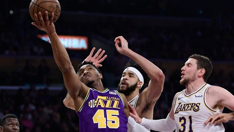<p>               Utah Jazz guard Donovan Mitchell, left, shoots as Los Angeles Lakers center JaVale McGee, center, and forward Mike Muscala defend during the first half of an NBA basketball game Sunday, April 7, 2019, in Los Angeles. (AP Photo/Mark J. Terrill)             </p>