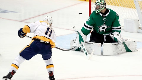 <p>               Nashville Predators center Kyle Turris (8) has his shot deflected by Dallas Stars' Ben Bishop (30) in the third period of Game 6 in an NHL hockey first-round playoff series in Dallas, Monday, April 22, 2019. (AP Photo/Tony Gutierrez)             </p>