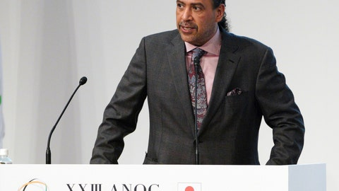 """<p>               FILE - In this file photo dated Wednesday, Nov. 28, 2018, Sheikh Ahmad al-Fahad al-Sabah, president of the Association of National Olympic Committees (ANOC) delivers a speech during the ANOC general assembly in Tokyo.  In a letter seen by The Associated Press Thursday April 18, 2019, Mariyam Mohamed of Maldives, who lost an election to join FIFA's ruling council earlier this month, has filed a formal complaint alleging """"threats and manipulation"""" by Olympic power broker Sheikh Ahmad al-Fahad al-Sabah.  (AP Photo/Eugene Hoshiko, FILE)             </p>"""