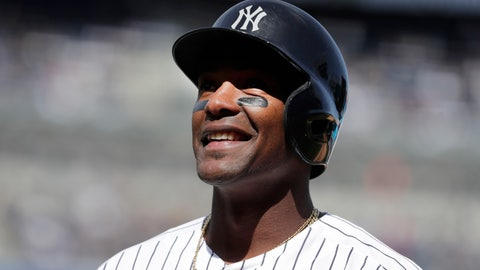 <p>               New York Yankees' Miguel Andujar reacts after hitting a sacrifice fly ball that scored Aaron Judge during the fifth inning of an opening day baseball game against the Baltimore Orioles at Yankee Stadium, Thursday, March 28, 2019, in New York. (AP Photo/Julio Cortez)             </p>