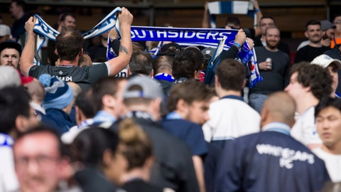 <p>               Vancouver Whitecaps FC fans, better known as the Southsiders, walk out of the MLS soccer match between Vancouver and Los Angles FC in Vancouver, British Columbia, Wednesday, April 17, 2019. (Jonathan Hayward/The Canadian Press via AP)             </p>