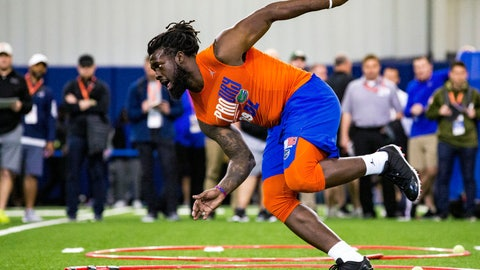 <p>               FILE - In this March 27, 2019, file photo, defensive lineman Jachai Polite runs drills during the University of Florida's football Pro Day in Gainesville, Fla. Polite is a possible pick in the 2019 NFL Draft. (Lauren Bacho/The Gainesville Sun via AP, File)             </p>