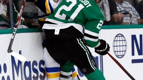 <p>               St. Louis Blues' Robert Thomas (18) is checked against the boards by Dallas Stars' Ben Lovejoy (21) during the second period in Game 3 of an NHL second-round hockey playoff series, Monday, April 29, 2019, in Dallas. (AP Photo/Tony Gutierrez)             </p>