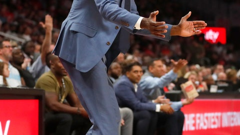 <p>               Atlanta Hawks head coach Lloyd Pierce reacts in the first half of an NBA basketball game against the Indiana Pacers Wednesday, April 10, 2019, in Atlanta. (AP Photo/John Bazemore)             </p>