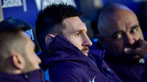 <p>               Barcelona forward Lionel Messi sits at the bench during a Spanish La Liga soccer match between Deportivo Alaves and FC Barcelona at the Medizorrosa stadium in Vitoria, Spain, Tuesday, April 23, 2019. (AP Photo/Alvaro Barrientos)             </p>