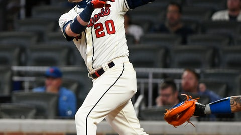 <p>               Atlanta Braves' Josh Donaldson follows through on his home run to center field during the fifth inning of a baseball game against the New York Mets, Sunday, April 14, 2019, in Atlanta. (AP Photo/John Amis)             </p>