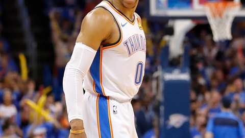 <p>               Oklahoma City Thunder guard Russell Westbrook (0) celebrates after scoring a three point basket against the Portland Trail Blazers in the first half of Game 4 of an NBA basketball first-round playoff series Sunday, April 21, 2019, in Oklahoma City. (AP Photo/Alonzo Adams)             </p>