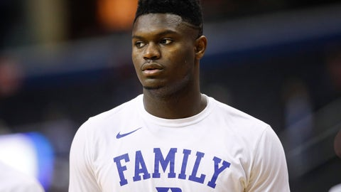 <p>               FILE - In this March 31, 2019, file photo, Duke forward Zion Williamson warms up before the start of an NCAA men's East Regional final college basketball game against Michigan State, in Washington. The player widely projected to be the NBA draft's top overall pick came up at a college basketball corruption trial as jurors heard a recording of a Clemson coach who seemed eager for help recruiting him. The charismatic Zion Williamson played one year at Duke before entering the draft scheduled for June. (AP Photo/Patrick Semansky, File)             </p>
